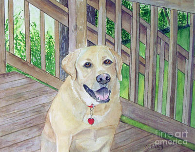 Art Print featuring the painting Spencer On Porch by Carol Flagg