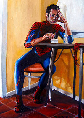 Fan Art Painting - Spiderman After Work by Emily Jones