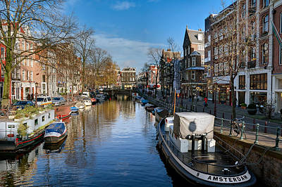 Photograph - Spiegelgracht And Ship Amsterdam by Juan Carlos Ferro Duque