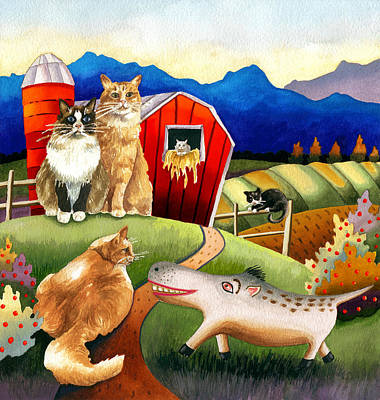 Spike The Dhog Meets Some Well Fed Barncats Art Print by Anne Gifford