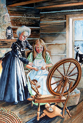 Oil Lamp Painting - Spinning Wheel Lessons by Hanne Lore Koehler