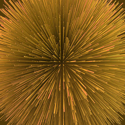 Spiny Digital Art - Spiny Bronze Ball Explosion by Philip Roberts