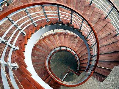 Spiraling Staircase Seen  From Above Art Print by Yali Shi