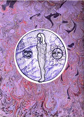Devon Mixed Media - Spirit Orb On Marbling Background by Devon Wilson