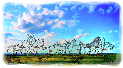 Digital Art - Spirit Warriors - Little Bighorn Battlefield Indian Memorial by Gary Baird