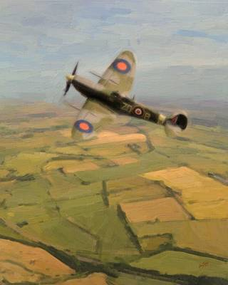 Briex Painting - Spitfire Over England by Nop Briex