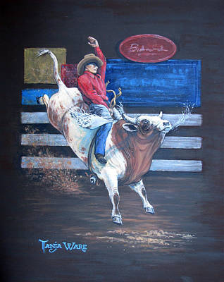 Bull Riding Painting - Spitting Bull  by Tanja Ware