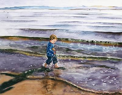 Sun Casting Shadow Painting - Splashing In The Tide by Maureen Dean