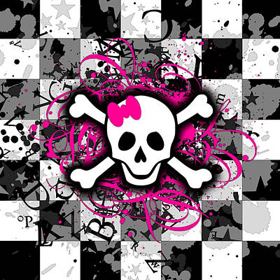 Basketball Patents - Splatter Girly Skull by Roseanne Jones