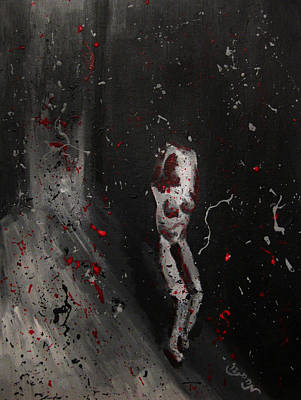 Art Print featuring the painting Splattered Nude Young Female In Gritty City Alley In Black And White And Red by M Zimmerman