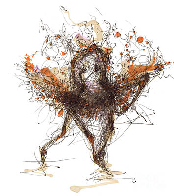 Ballet Drawing - Spontaneous Moves Or Visualizing Choreography by Lousine Hogtanian