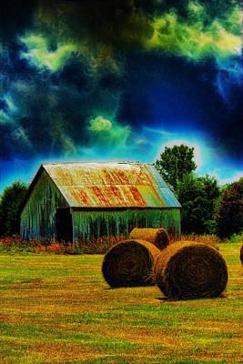 Bale Digital Art - Spooky Hay Field by Bill Tiepelman