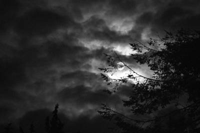 Photograph - Spooky Moon In Black And White by Angi Parks