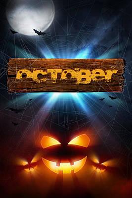 Spooky Digital Art - Spooky October by Bill Tiepelman