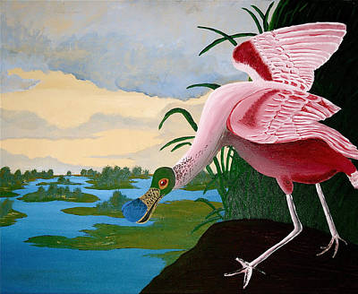 Water Painting - Spoonbill Reproduction by Amber Hennessey