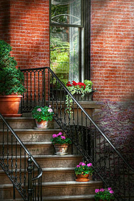 Photograph - Spring - Porch - Hoboken In Spring by Mike Savad