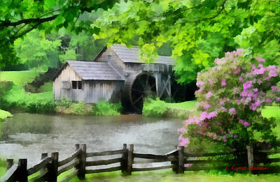 Grist Mill Painting - Spring At Mabry Mill by Lynne Jenkins