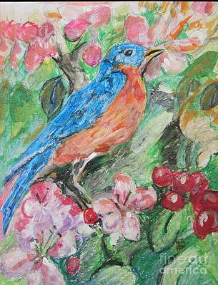 Painting - Spring Bluebird Collage by Lyn Vic