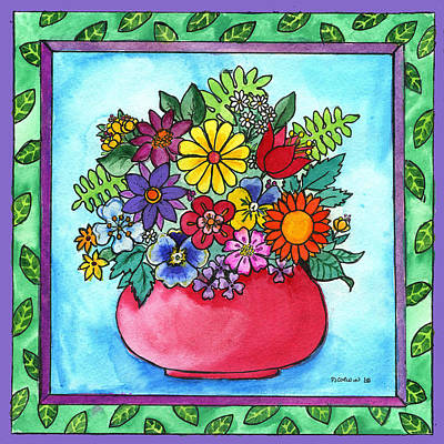 Spring Bouquet Art Print by Pamela  Corwin