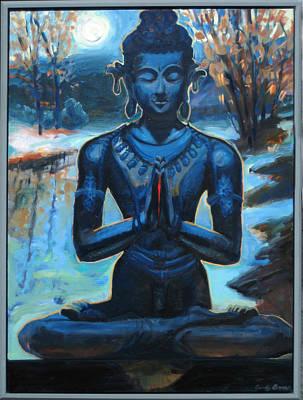 Large Buddha Painting - Spring Buddha Meditation by Candy Barr