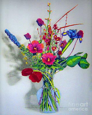 Spring Flowers In Glass Vase Art Print by Merton Allen
