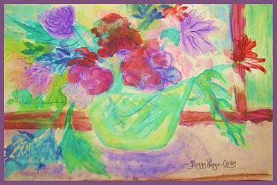 Vibrant Flowers In Pot Art Print by Peggy Leyva Conley