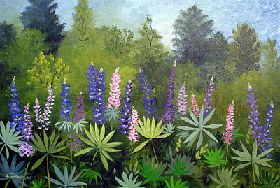 Maine Painting - Spring Lupines by Laura Tasheiko