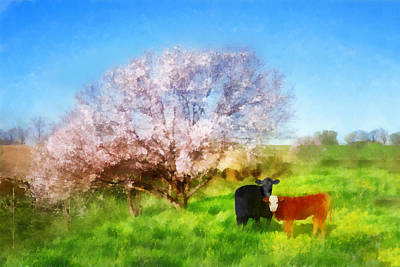 Digital Art - Spring Meadow With Cows by Francesa Miller