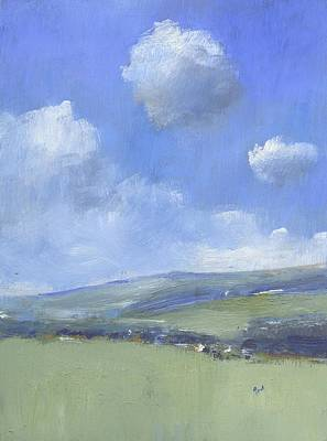 Oil Landscape Painting - Spring Sky Over Ashey Down by Alan Daysh