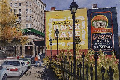 Eureka Springs Painting - Spring Street At Basin Park by Sam Sidders
