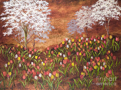 Painting - Spring Under The Dogwoods by Vic  Mastis