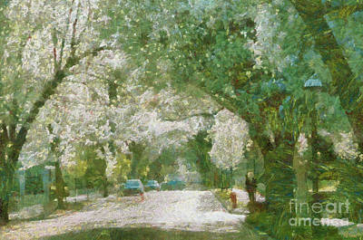 Thomas Kinkade Rights Managed Images - Springtime in Covington  Royalty-Free Image by Anne Kitzman