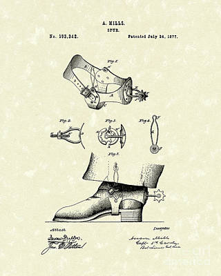 Western Art Drawing - Spur 1877 Patent Art by Prior Art Design