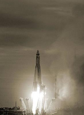 First Launch Photograph - Sputnik 1 Launch by Detlev Van Ravenswaay