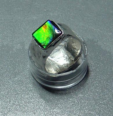 Ammolite Jewelry - Square Ammolite And Pure Silver Ring by Robin Copper