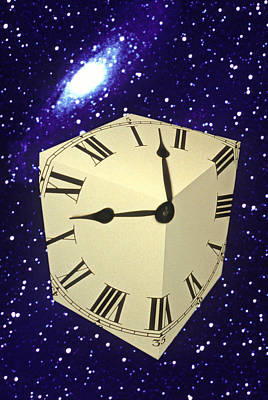Square Clock In Space Art Print by Garry Gay