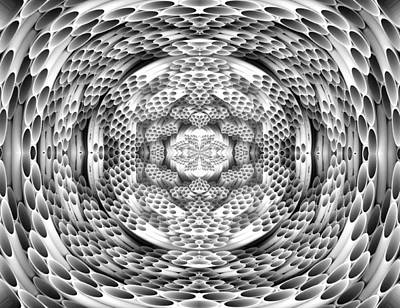 Square To Oval Abstract Bw Art Print by Linda Phelps