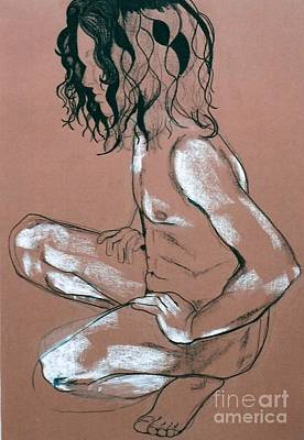 Drawing - Squating Male Nude by Joanne Claxton