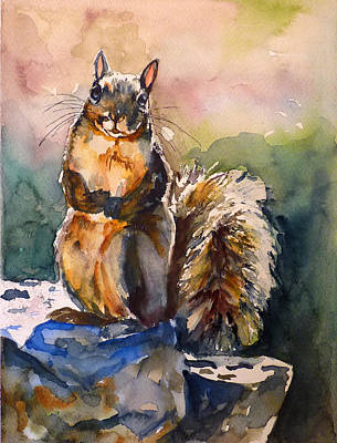 Squirrel Watercolor Painting - Squirrel 2 by P Maure Bausch