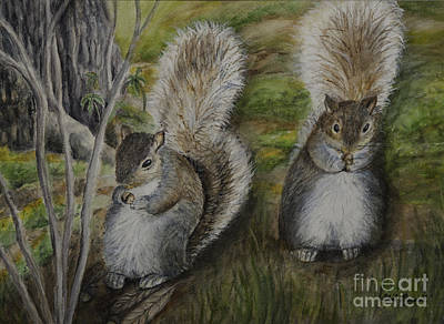 Squirrel Watercolor Painting - Squirrels Sharing Lunch by Gail Darnell