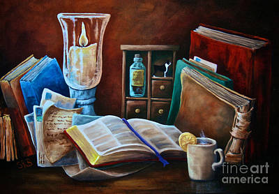 Top With Oil Painting - Srb Candlelit Library by Susan Herber
