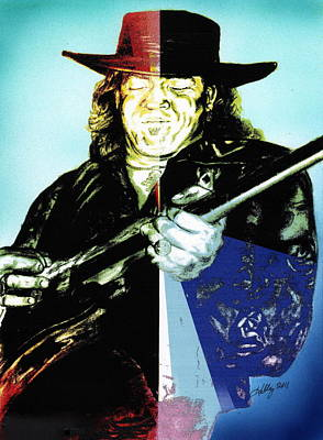 Player Drawing - SRV by Kathleen Kelly Thompson