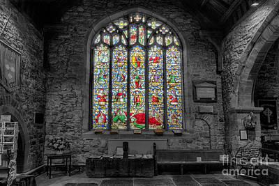 Window Bench Photograph - St Dyfnog Window by Adrian Evans