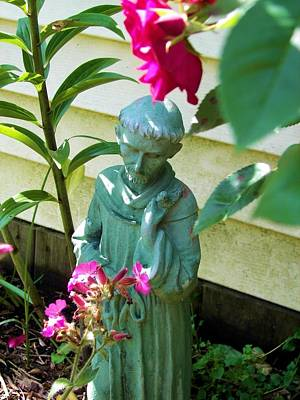 Photograph - St. Francis And The Flowers by Judy Via-Wolff