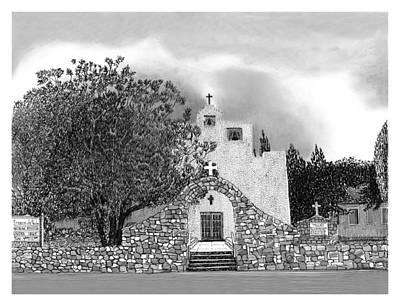 New Mexico Drawing - St Franncis De Paula Mission by Jack Pumphrey