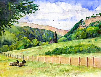 Painting - St. Kevin's And Wicklow Mountians by John D Benson