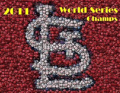Bottlecap Mixed Media - St. Louis Cardinals World Series Bottle Cap Mosaic by Paul Van Scott