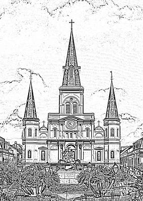Digital Art - St Louis Cathedral Above Jackson Square New Orleans Black And White Photocopy Digital Art by Shawn O'Brien