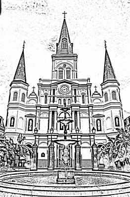 St Louis Cathedral And Fountain Jackson Square French Quarter New Orleans Photocopy Digital Art Art Print by Shawn O'Brien