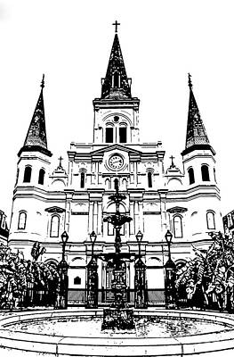 Photograph - St Louis Cathedral And Fountain Jackson Square French Quarter New Orleans Stamp Digital Art by Shawn O'Brien